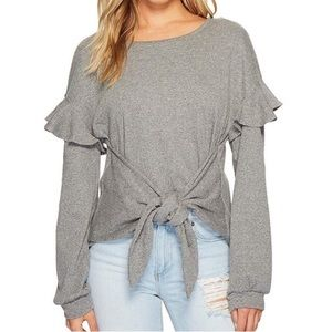 1.State Tie-front Ruffle Blouse Grey XL New